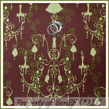 BonEful Fabric FQ Cotton Quilt Brown Green Leaf Chandelier Lace Sm Flower Calico