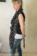 chaleco chal de seda y viscosa en negro de mujer HIGH USE talla 38 ETIQUETA