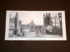 Guerra Europa 1914 Rovine Cattedrale Lovanio o Leuven o Louvain o Löwen Belgio