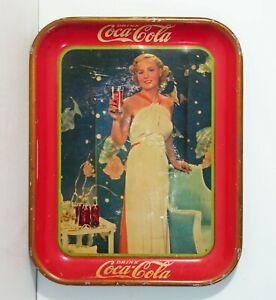 ORIGINAL 1935 COCA-COLA TIN LITHOGRAPH ADVERTISING TRAY - ACTRESS MADGE EVANS