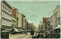 Broadway 6th Street View Los Angeles California CA Horse Buggy Trolley Postcard