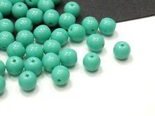 50 Böhmische Glasperlen 6mm Türkis Kugel Rund Czech Glassbeads Perles #0948
