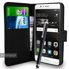 Black Wallet Case PU Leather Book Cover For Huawei P9 Mobile Phone