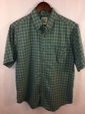 TravelSmith Men's Green S/S Button Cotton Polyester Travel Shirt Size M Medium
