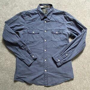 H&M Langarm Jersey Hemd Blau Schwarz Kariert - Gr. L - Top