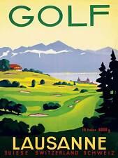 TRAVEL TOURISM SPORT GOLF LAUSANNE SWITZERLAND ART PRINT POSTER BB9951