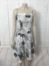 PINEAPPLE Sz S (10) Black & White Floral Dress Sleeveless Knee Length A-Line