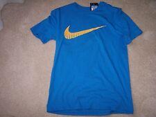 Men's - M - Nike Tee Shirt - Athletic Cut - Blue/Gold Swoosh - MSRP $25.00