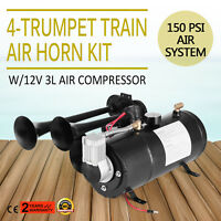 Train Air Horn Kit W/12V 150PSI Air Compressor Universal 3L Tank Complete System