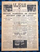 La Une Du Journal Le Jour L'Écho De Paris 11 Juillet 1940 Pétain Chef De L'état