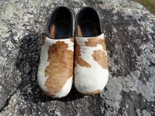 SANITA Faux  Calf/Cow Spotted Print Wooden Clogs Shoes Size 32