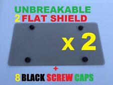 2 UNBREAKABLE Flat License Plate Smoke Shield Cover & 8 Black Screw Caps for GMC