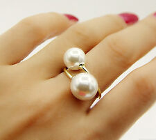 Chic Fashion Double Pearl Cristal Opening Adjustable Ring Gift New Hot Sale