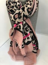 Gorgeous large Leopard print Scarf beige & black tones with pink & black stripe