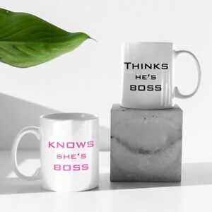 QUALITY PAIR OF WHO IS THE BOSS PRINTED MUGS WEDDING OR ANNIVERSARY FREE P&P