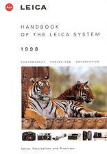 1998 LEICA CAMERA SYSTEM HANDBOOK CATALOG BROCHURE -R8-M6-MINILUX-Z2X-TRINOVID