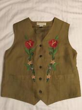 Banana Republic Olive Khaki Flower Embroidery Lined Linen Vest Womens Sz Medium