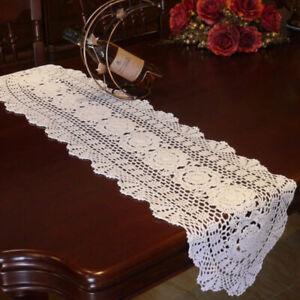 Retro White Table Runner Cotton Handmade Crochet Lace Flower Decor Cover 30x70cm