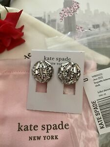 Kate Spade Gold BRILLIANT STATEMENTS Clear Crystal Stud Earrings Silver $68