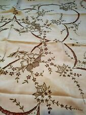 "Wow! Amazing Floral Cutwork & Embroidered Madeira Linen Tablecloth 42"" Square"