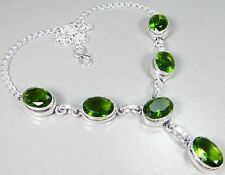 "Quartz Peridot & 925 Silver Handmade Elegant Necklace 18"" & gift box"
