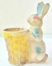 """Vintage Paper Mache Easter Bunny 9.5"""" Rabbit Candy Container W/ Basket"""