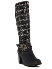 New Women L'Artiste Black Tweed Heel Zip Boots Size 40 9