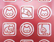 Japanese cat stickers! Kawaii cat emoticon faces, cute kitty emoji, Japan kitten