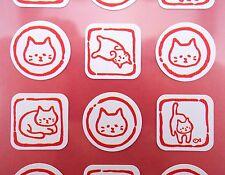 Japanese cat stickers! Kawaii cat emoticon faces, cute kitty emoji, Japan kitten