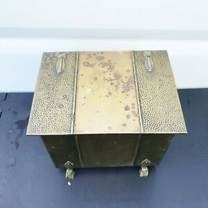 ANTIQUE VICTORIAN COAL FIRE SIDE BRASS LOG BOX FIRE SIZE SLIPPER SHOE BOX