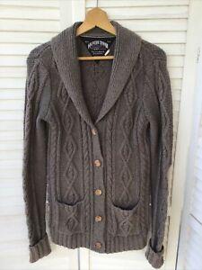 HILFIGER DENIM Large Grey Brown Chunky Knit Wool Cotton Cardigan Pockets Tommy