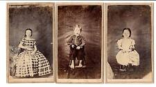 Lot of 3 CDV children simple backdrop siblings sisters brother Itenerant photo