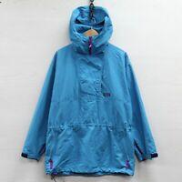 Vintage Patagonia Windbreaker Jacket Womens Size 12 Blue Teal 1/2 Zip Hooded