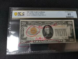 1928 US$20 Gold Certificate, Misalignment Error (w/o error description) PCGS 61