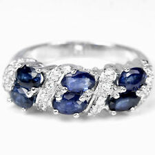 Band Not Enhanced Sapphire Sterling Silver Fine Rings