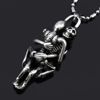 Tibet Silver Men Infinity Black Stainless Steel Skull Pendant Chain Necklace Tip