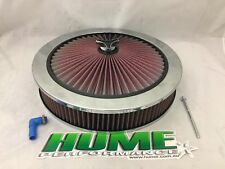 HI FLOW AIR CLEANER FILTER ASSEMBLY 14X3 HOLLEY 5-1/8  RECESSED BASE 16-217-1CRM