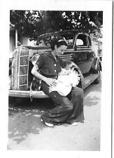 Vintage Old 1930's Photo Woman Mother & Baby Dodge 1936 Car Hood Ornament on