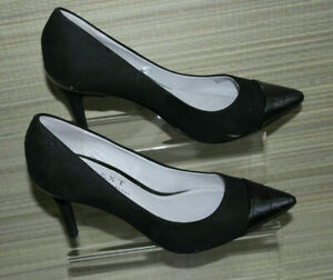NEXT WOMEN BLACK LEATHER/FAUX SUEDE SLIP ON HEEL POINTED SHOES SZ:3/35.5(WHS408)