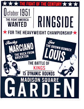 Rocky Marciano Joe Louis 8X10 Photo Poster Boxing Match Promo Msg New York