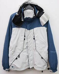 COLUMBIA Men's L White Blue Ski Jacket Snow Skirt Rain Coat Omni Tech Hooded Top