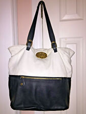 EMMA FOX (Black/White/Leather) Shoulder Bag-LARGE