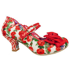 Irregular Choice 2019 Summer Breeze Floral Retro Vintage 1950s Red Rose Shoes