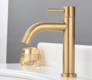 Deck Mounted Brushed Gold SUS Bathroom Basin Faucet Sink Single Cold Tap