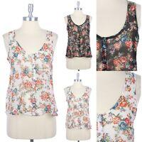 Full Floral Print Sheer Sleeveless High Low Hem Button Down Shirt Blouse S M L