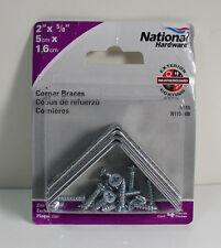 "(4) National N113-308 2"" x 5/8"" Zinc Plated Corner Brace 4 Pack with Screws"