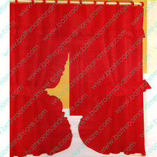 Double Swag Fabric Shower Curtain/12 Matching Hooks 2 Tie Backs/Hooks: RED