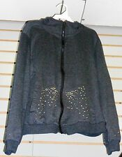 Dark Gray Metal Studs Decor  Large Adult Zip Up Sweater with Attached Hood