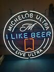 """Michelob ultra neon light up sign 36"""" I LIKE BEER LIVE ULTRA game room man cave"""