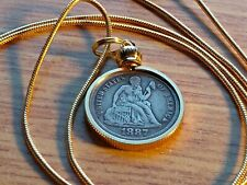 """Rare XF. 1887 USA Silver LIBERTY dime Pendant on a 24"""" Gold Filled Snake Chain"""